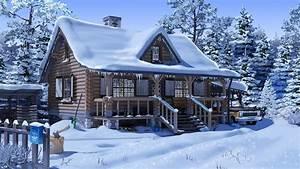 壁纸 雪,房子,树木,汽车,动漫 1920x1080 Full HD 2K 高清壁纸, 图片, 照片