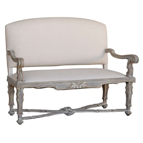 wood settee furniture italian 19th century upholstered painted wood settee with