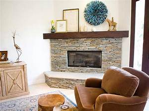 Interior stone corner fireplace design ideas