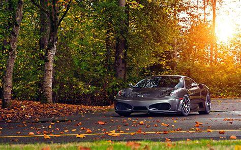 Ferrari, Car, Fall, Leaves, Road, Ferrari F430 Scuderia