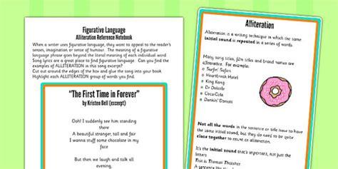 alliteration figurative language worksheet activity sheet
