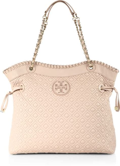 burch marion quilted slouchy tote burch marion quilted slouchy tote in beige light oak