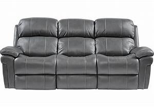 Trevino Smoke Leather Reclining Sofa - Sofas (Gray)