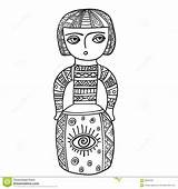 Ethnic Coloring Patterns Doodle Statue Sculpture Adults Doll Tattoo Shirt sketch template