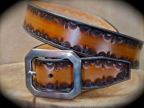 leather belt hand tooled custom    york city