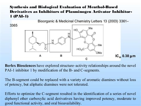 bioorganic and medicinal chemistry letters pai 1 inhibitors 28529