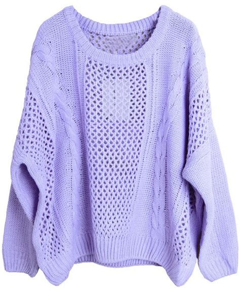 lilac sweater purple sleeve hollow pullovers sweater shein