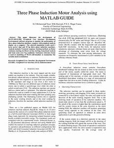 Pdf  Three Phase Induction Motor Analysis Using Matlab  Guide