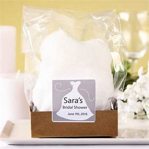 cotton candy bridal favor with personalized label With beau coup wedding shower favors