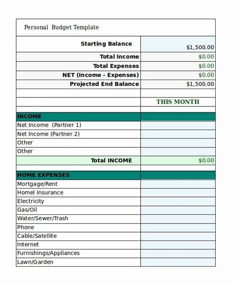 excel budget template awesome  personal bud