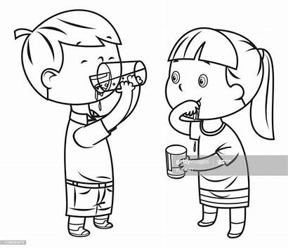 Coloring Boy Water Agua Colorear Drinks Clipart