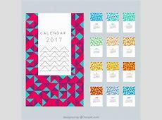 Modern calendar 2017 in polygonal design Vector Free