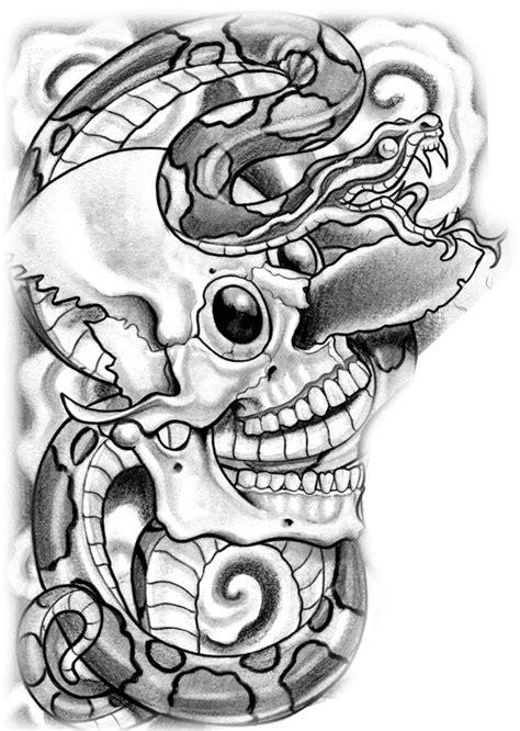 Aztec Dagger in Skull with Snake Tattoo Design | Tatuajes
