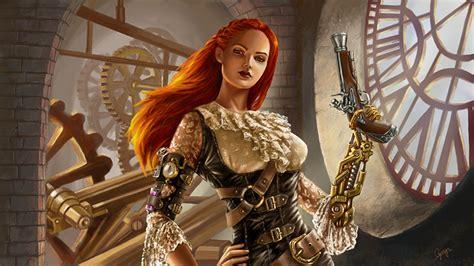 Warrior Cat Desktop Wallpaper Wallpaper Steunk Cyborg Pistols Redhead Girl Girls Fantasy