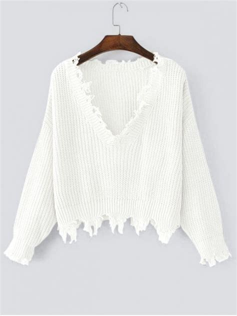 v neck ripped sweater ripped v neck sweater white sweaters one size zaful