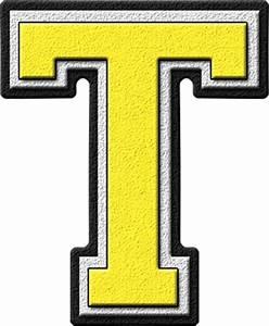 Presentation Alphabets: Yellow Varsity Letter T
