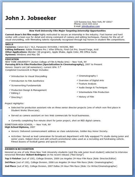 exle of resume for internship 100 images resume