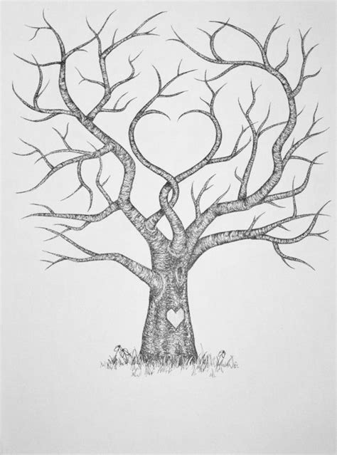 Original Hand Drawn Wedding Fingerprint Guest by WoodlandGrove, $40.00 | Family tree drawing