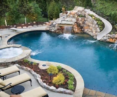 Pool with Slide and Diving Board