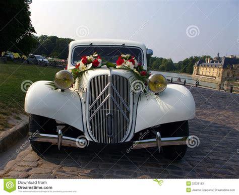 White Wedding Vintage Car. Stock Image. Image Of Driving