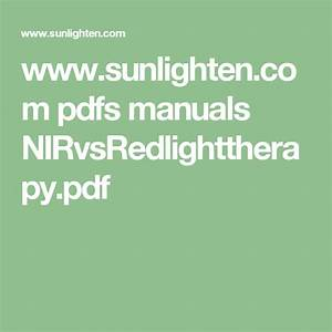 Sunlighten Com Pdfs Manuals Nirvsredlighttherapy Pdf