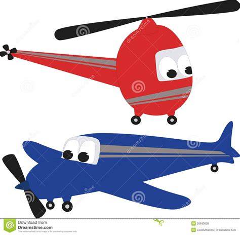 Helicopter And Airplane Stock Vector. Image Of