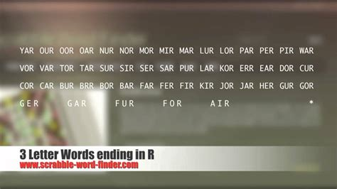 3 letter words ending in z 3 letter words ending in r