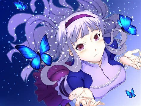 Blue Butterfly Long Hair Ribbons Pink Hair Snow White