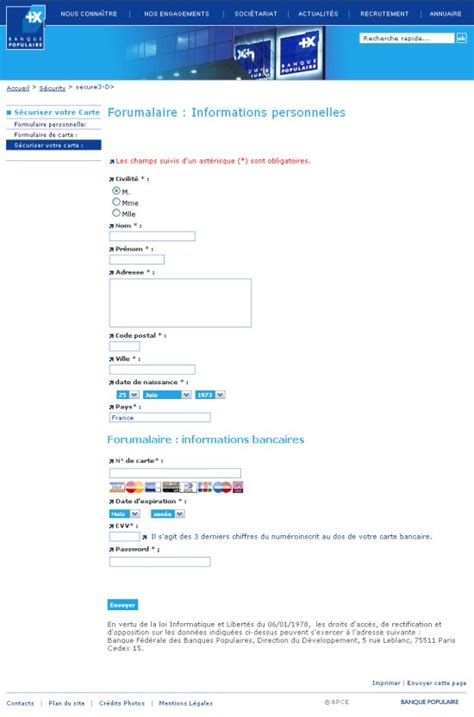si e banque populaire tentative de phishing pour les clients de la banque
