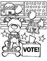 Election Coloring Pages Voting Elephant Funny Republican Printable Sheets Getcolorings Getcoloringpages Donkey Colorin sketch template
