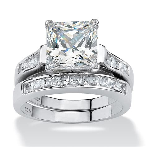 3 95 tcw princess cut cubic zirconia two bridal in platinum sterling silver at