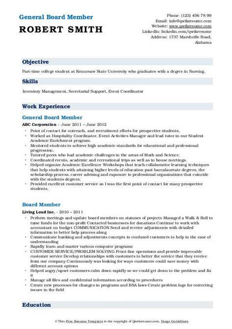 board member resume samples qwikresume