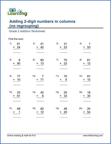 2nd grade math worksheet 2 digit addition grade 2 math worksheet add 2 digit numbers in columns no