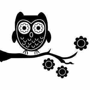 Black Owl Silhouette Canvas Print Painting Wall Art Baby ...