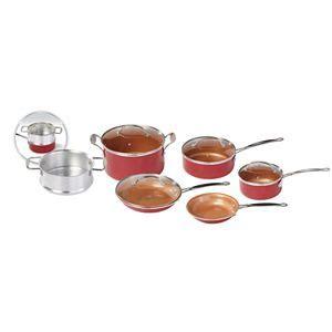red copper  pc cookware set    tv kohls