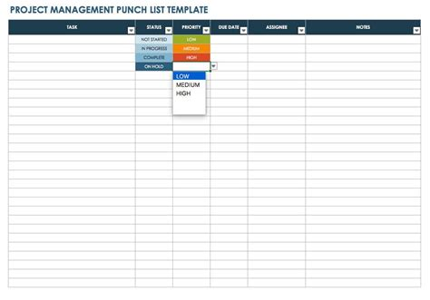 punch list templates smartsheet