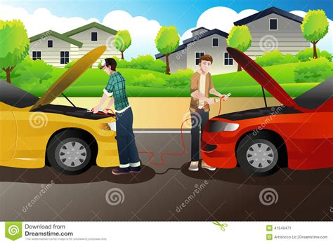Two People Trying To Jump Start A Car Stock Vector