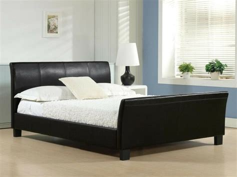 Cheap Bed by Cheap King Size Leather Bed Frame Sleigh Bed With