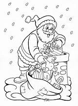 Coloring Santa Chimney Snowman Climbing Down Reindeer Printable sketch template