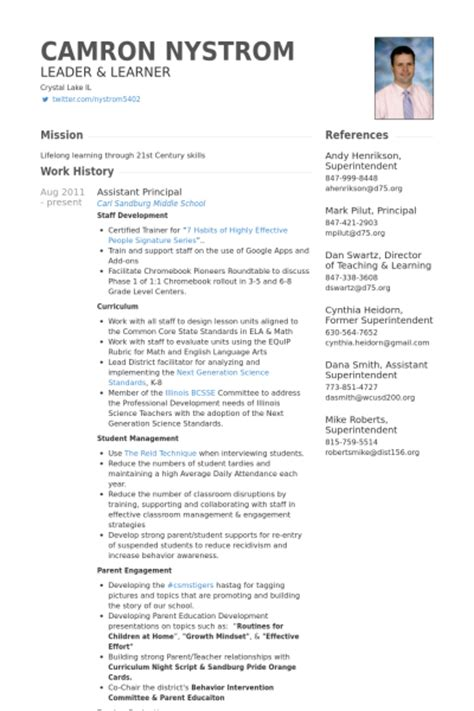 Resumes For Vice Principals by Assistant Principal Resume Sles Visualcv Resume Sles Database