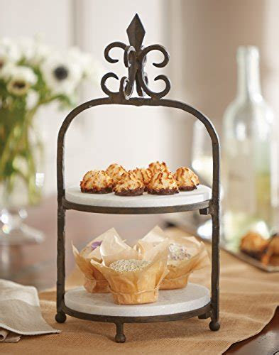 Mud Pie Fleur de Lis Marble Tiered Stand, Black   Cast