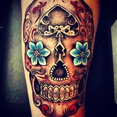Mexican Sugar Skull Tattoo On Leg