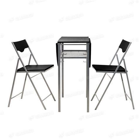 folding dining table and 2 chairs space saving drop leaf