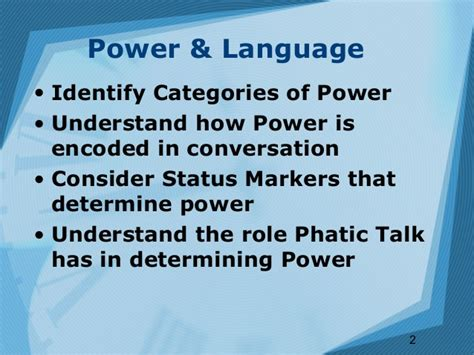 Language & Power Part 1