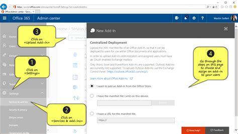 Office 365 Portal Manual by Office 365 Documentation Add In Deployment