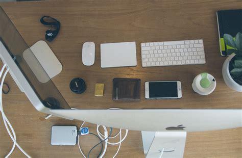 imac  desk  stock photo