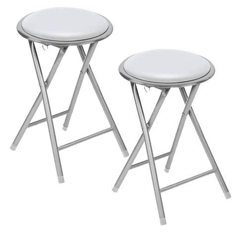 new set of 2 white soft padded folding stool seat