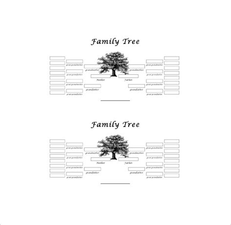 Five Generation Family Tree Template 11 Free Word Blank Family Tree 2 Generations Www Pixshark