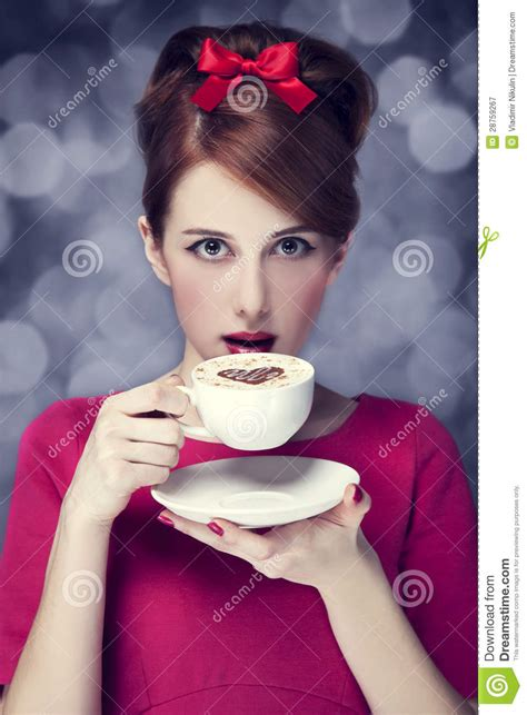 Redhead Girl With Coffee Cup St Valentine Day   Hot Girls Wallpaper
