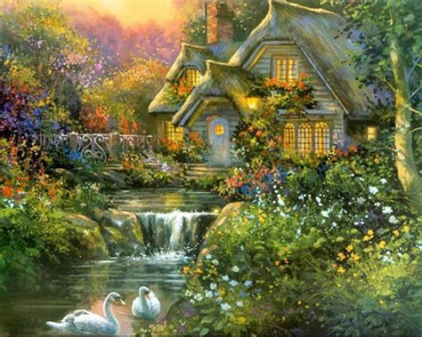 kinkade cottage painting pin by barb butler on beautiful places kinkade paintings